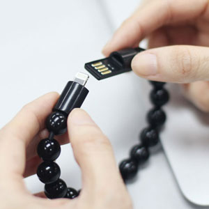 Olixar Bead Bracelet Lightning Cable - Black