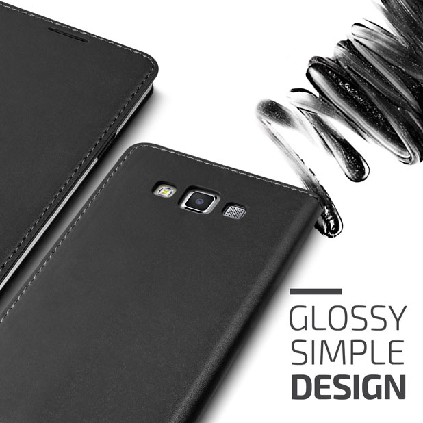 Verus Crayon Diary Samsung Galaxy A7 Leather-Style Case - Black