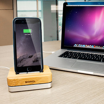 iPhone 6 Luxury Bamboo and Aluminum Holder & Charging Dock