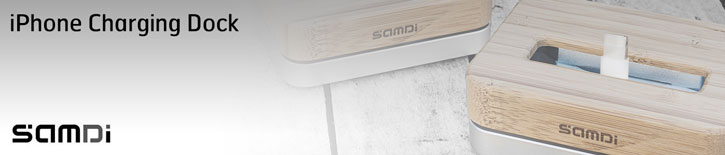 Samdi iPhone 6/5S/5 Luxury Bamboo / Aluminium Holder & Charging Dock
