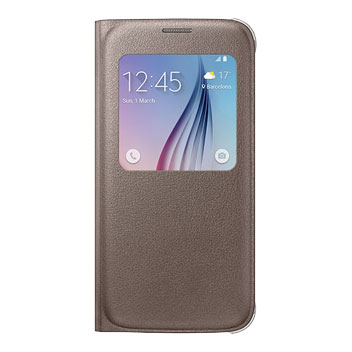 Official Samsung Galaxy S6 S View Premium Cover Case - Gold