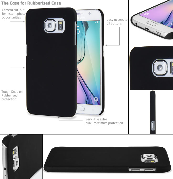 Rubberised Samsung Galaxy S6 Hard Shell Case - Black