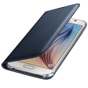 Official Samsung Galaxy S6 Flip Wallet Cover - Blue / Black