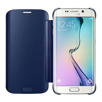 Official Samsung Galaxy S6 Edge Clear View Cover Case - Blue