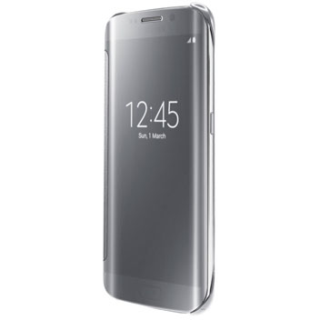Official Samsung Galaxy S6 Edge Clear View Cover Case - Silver