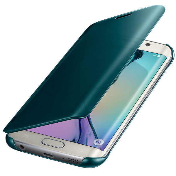 Official Samsung Galaxy S6 Edge Clear View Cover Case - Green