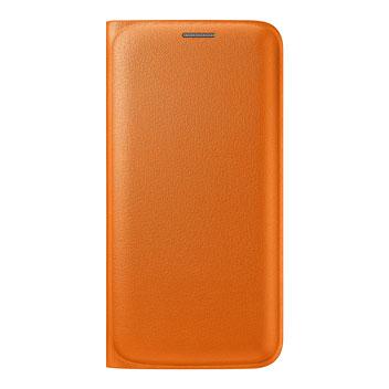 Official Samsung Galaxy S6 Edge Flip Wallet Cover - Orange