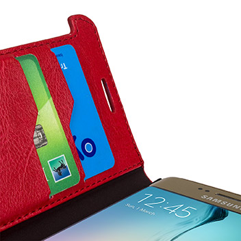 Olixar Leather-Style Galaxy S6 Edge Wallet Stand Case - Red