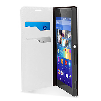 Olixar Leather-Style Sony Xperia Z3+ Wallet Stand Case - White