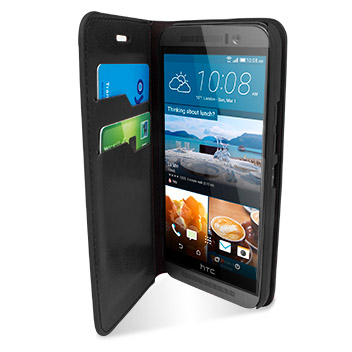 Olixar Leather-Style HTC One M9 Wallet Stand Case - Black