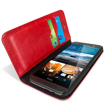 Olixar Leather-Style HTC One M9 Wallet Stand Case - Red