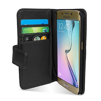 Olixar Genuine Leather Samsung Galaxy S6 Edge Wallet Case - Black