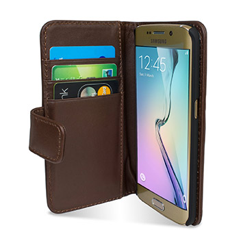 Olixar Genuine Leather Samsung Galaxy S6 Edge Wallet Case - Brown
