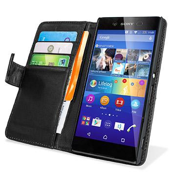 Olixar Sony Xperia Z3+ Genuine Leather Wallet Case - Black