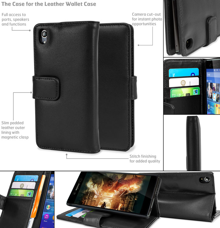 Olixar Sony Xperia Z3 Plus Genuine Leather Wallet Case - Black