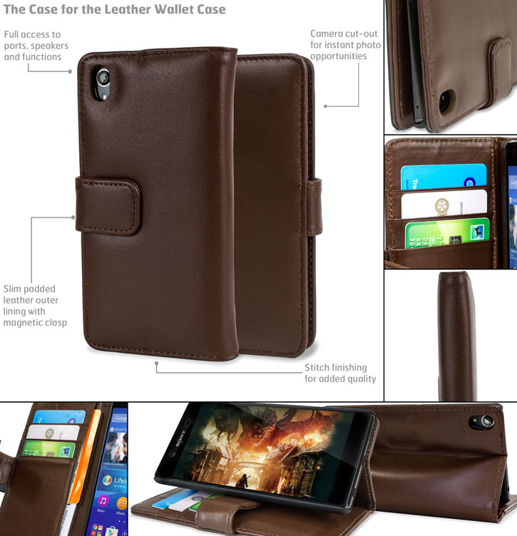 Olixar Sony Xperia Z3 Plus Genuine Leather Wallet Case - Brown