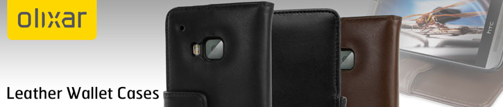 Olixar HTC One M9 Genuine Leather Wallet Case - Black