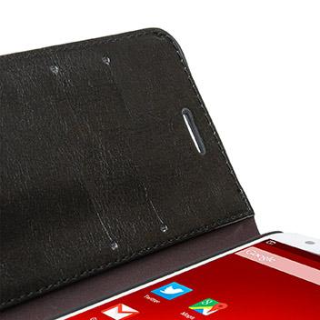 Olixar Leather-Style ZTE Blade S6 Wallet Stand Case - Black