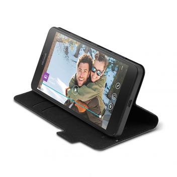 Mozo Classic Leather Style Microsoft Lumia 640 Flip Case - Black