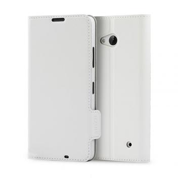 Mozo Classic Leather Style Microsoft Lumia 640 Flip Case - White