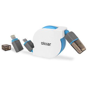 Olixar Retractable Dual Lightning / Micro USB Charge & Sync Cable - 1m