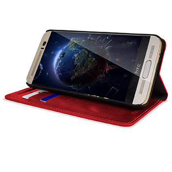 Olixar Leather-Style HTC One M9 Plus Wallet Stand Case - Red