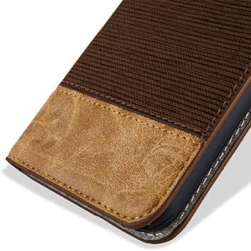 Olixar Premium Fabric Samsung Galaxy S6 Wallet Case - Light Brown