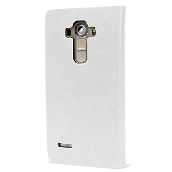 Olixar Leather-Style LG G4 Wallet Stand Case - White