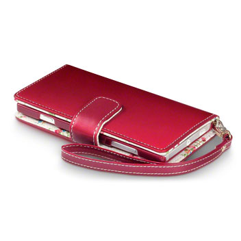 Olixar Leather-Style Nokia Lumia 830 Wallet Case - Floral Red