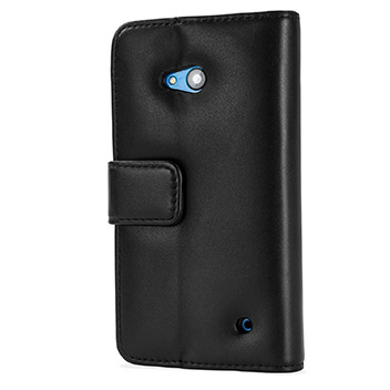 Olixar Premium Genuine Leather Microsoft Lumia 640 Wallet Case - Black