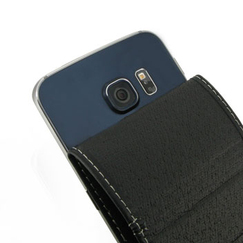 PDair Deluxe Leather Flip Case For Samsung Galaxy S6 Edge - Black