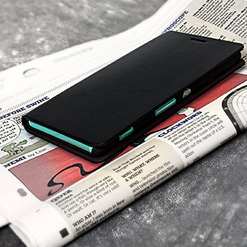 Olixar Leather-Style Sony Xperia C4 Wallet Stand Case - Black