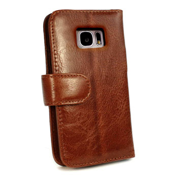 Tuff-Luv Vintage Leather Samsung Galaxy S6 Edge Wallet Case - Brown