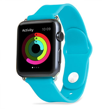 Soft Silicone Rubber Apple Watch Sport Strap - 38mm - Blue