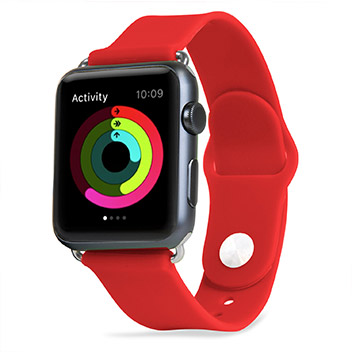 Olixar Soft Silicone Rubber Apple Watch Sport Strap - 38mm - Red