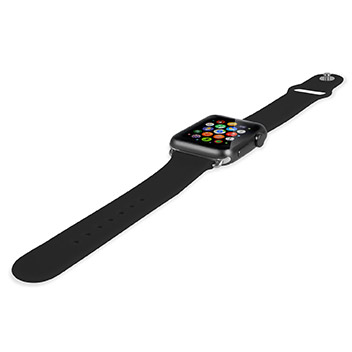Olixar Soft Silicone Rubber Apple Watch Sport Strap - 42mm - Black