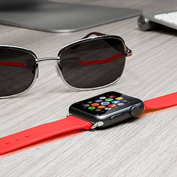 Olixar Soft Silicone Rubber Apple Watch Sport Strap - 42mm - Red