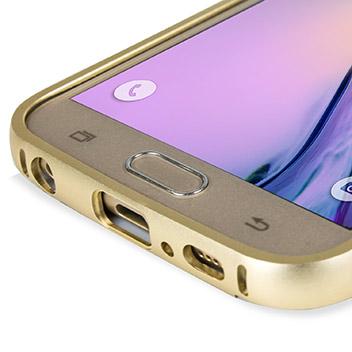 Bling Crystal Samsung Galaxy S6 Metal Bumper Case - Gold