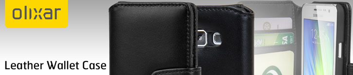 Olixar Premium Real Leather Samsung Galaxy A3 2015 Wallet Case - Black