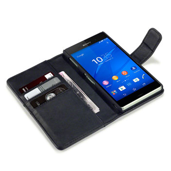 Olixar Premium Real Leather Sony Xperia Z3 Wallet Case - Black
