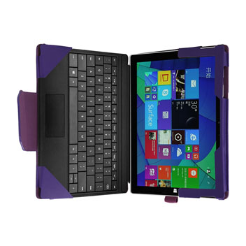 Leather-Style Microsoft Surface 3 Stand Case - Purple