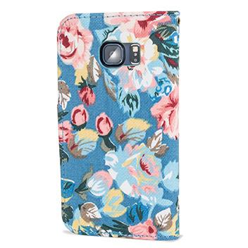 Olixar Floral Fabric Samsung Galaxy S6 Edge Wallet Case - Blue