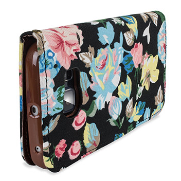 Olixar Floral Fabric Samsung Galaxy S6 Edge Wallet Case - Black