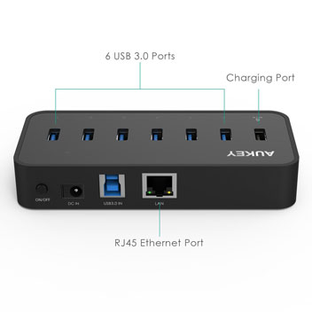 Aukey SuperSpeed 7-Port USB 3.0 Hub with Ethernet Converter