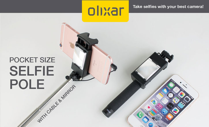 Olixar Pocketsize Selfie Stick with Mirror - Black
