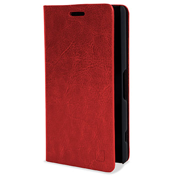 Olixar Leather-Style Sony Xperia Z3 Compact Wallet Stand Case - Red