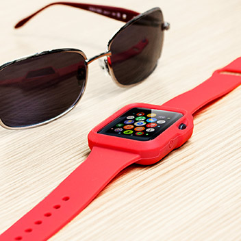 Olixar Soft Silicone Apple Watch Sport Strap with Case - 42mm - Red