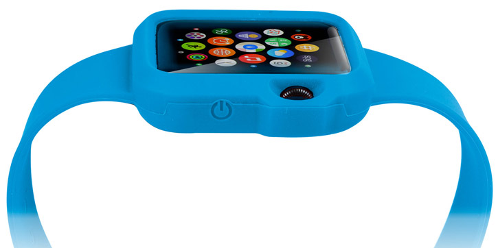 Olixar Soft Silicone Apple Watch Sport Strap with Case - 42mm - Blue