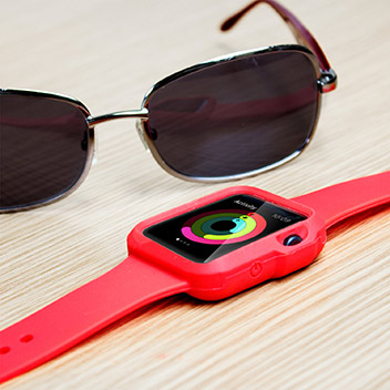 Olixar Soft Silicone Apple Watch Sport Strap with Case - 38mm - Red
