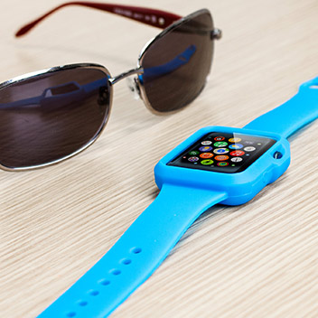 Olixar Soft Silicone Apple Watch Sport Strap with Case - 38mm - Blue
